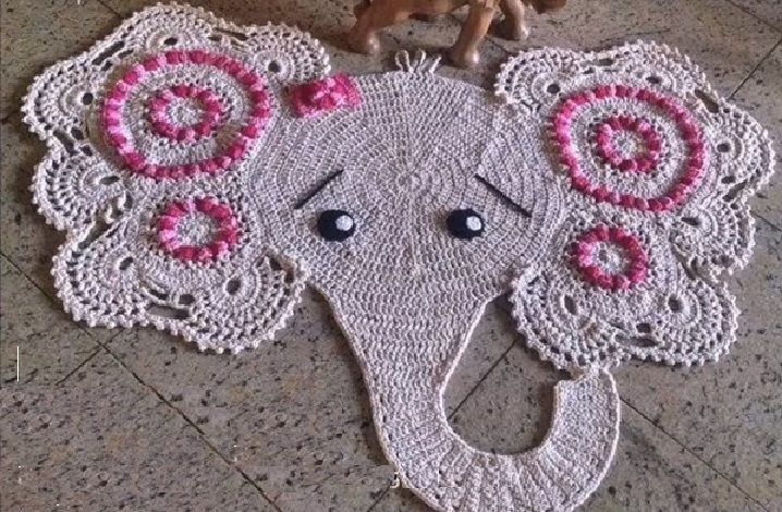 Tapete Infantil Elefante Em Crochê – Material e Vídeo