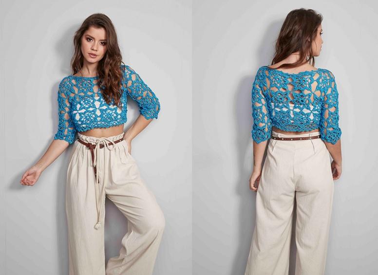 Cropped Azul Encanto Slim Em Crochê – Material e Vídeo