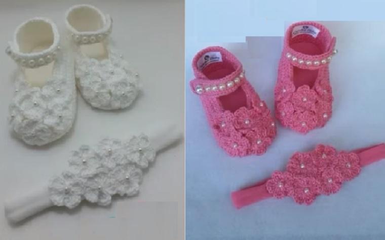 Sapatinho e Tiara Flores de Bebê Em Crochê – Material e Vídeo