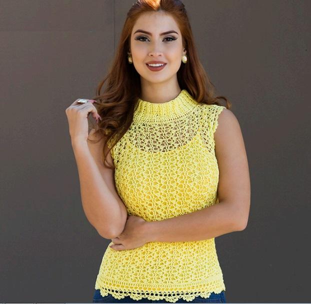 Blusa Amarela Com Gola Alta – Material e Receita