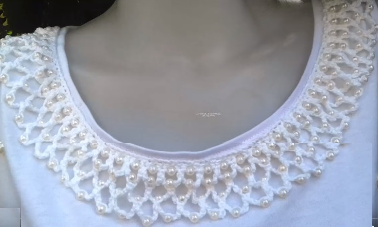 Customização de Gola Com Pérola Em Crochê – Material e Vídeo