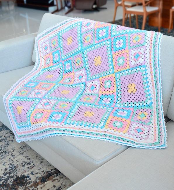 Manta Candy Em Crochê – Material e Receita