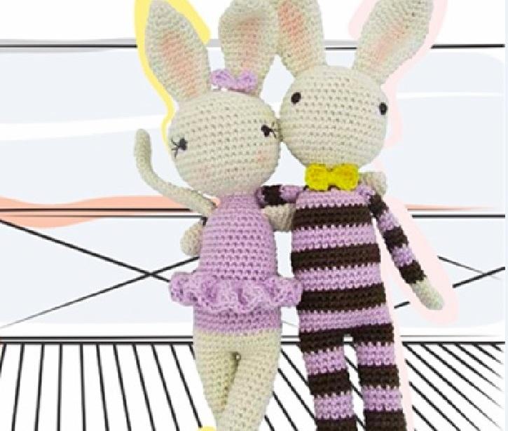 Coelho Listrado e Coelha Bailarina de Crochê– Material e Receita