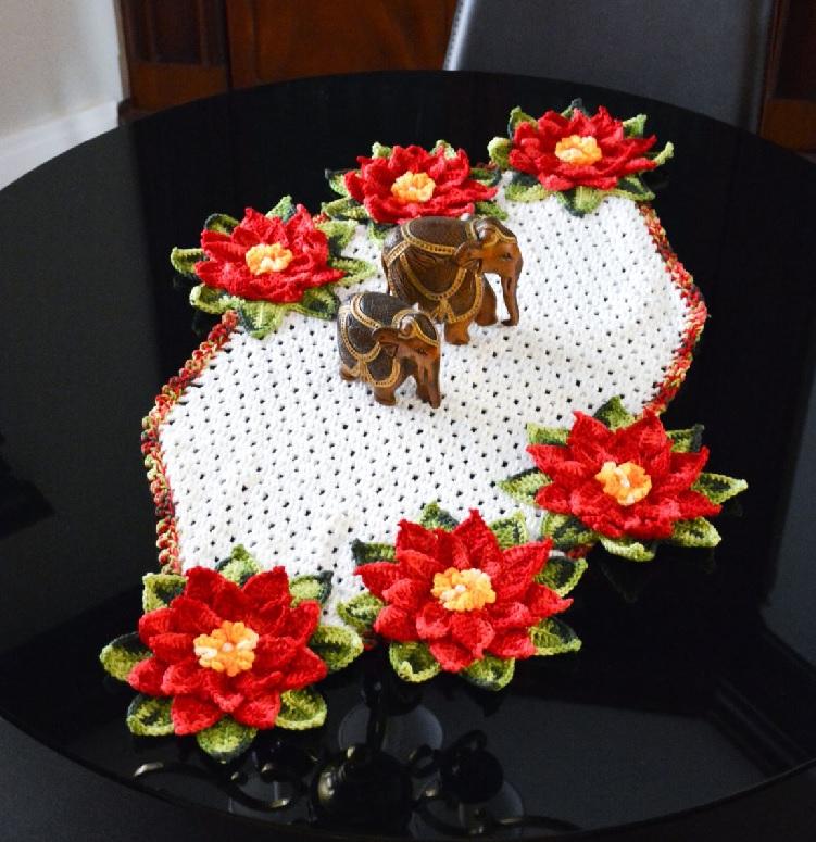 Caminho De Mesa NatalinoEm Crochê – Material e Receita