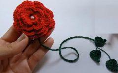 Marcador De Pagina Rosa Em Crochê – Material e Vídeo