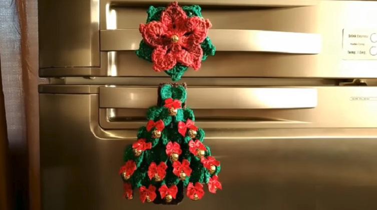 Puxador de Geladeira Arvore de NatalEm Crochê – Material e Vídeo