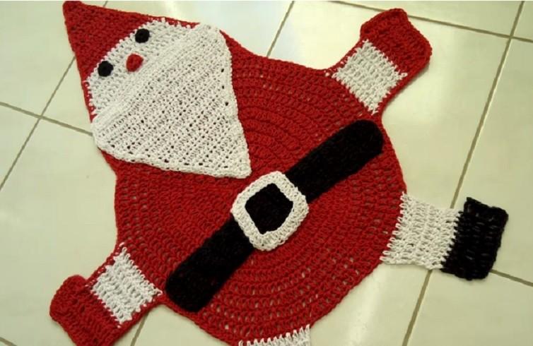 Tapete Papai Noel Em Crochê – Material e Vídeo