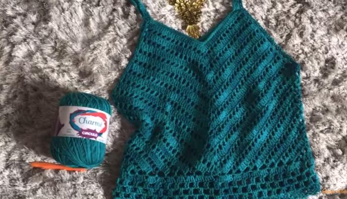 Regata Charme Verde Em Crochê – Material e Vídeo
