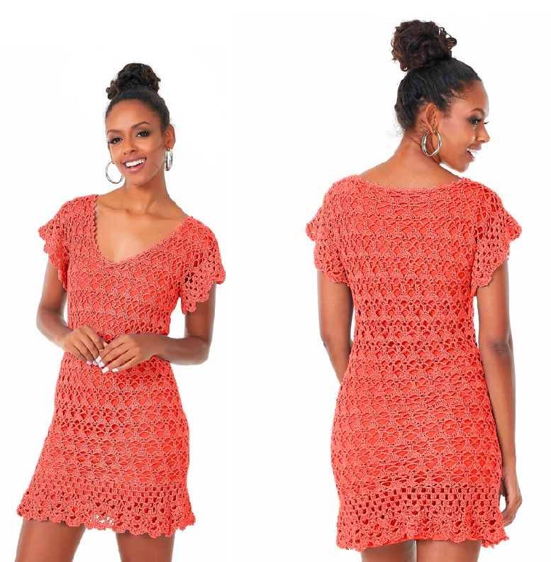Vestido Coral Vivo Em Crochê – Material e Receita