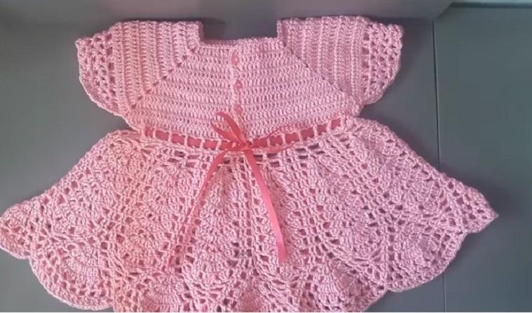 Vestido Infantil Rosa Em Crochê – Material e Vídeo