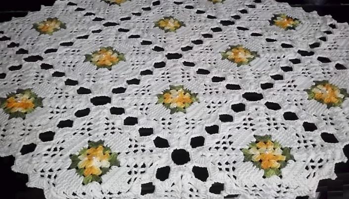 Toalha de Mesa Square Em Crochê – Material e Vídeo