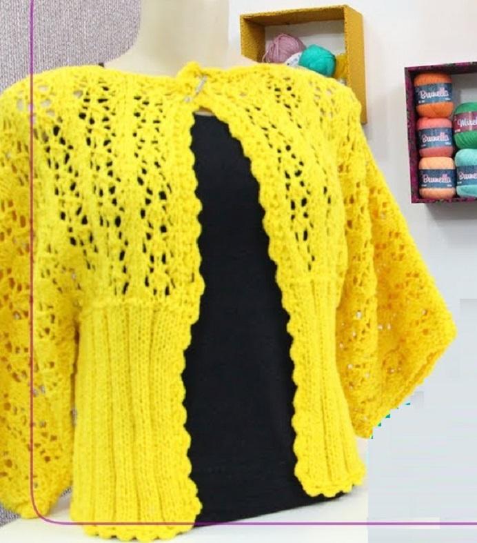 Kimono Amarelo Em Tricô – Material e Vídeo