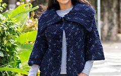 Poncho Azul Em Crochê – Material e Receita