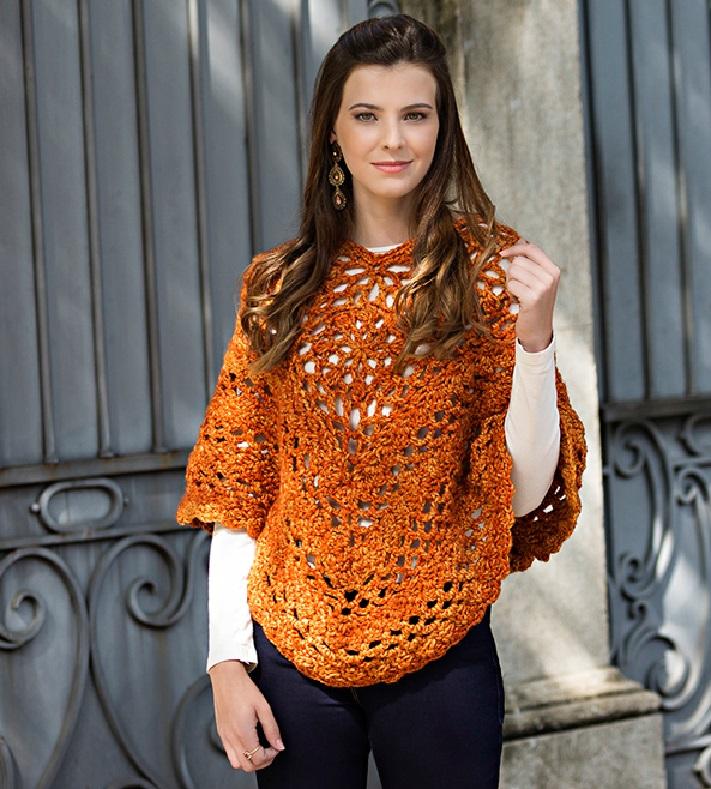 Poncho Laranja Eloá Em Crochê – Material e Receita