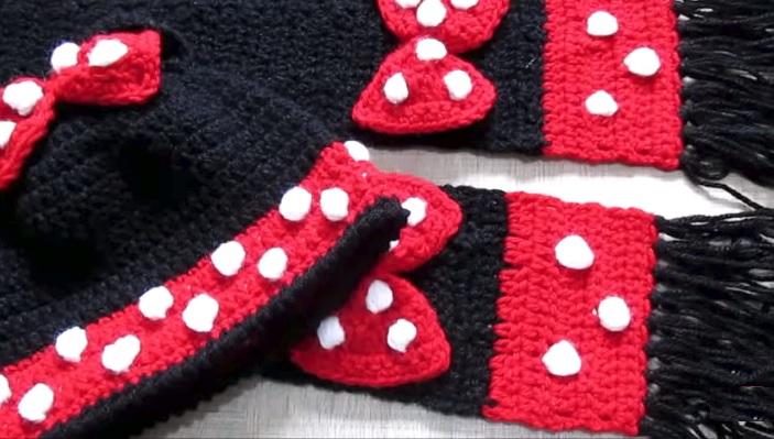 Gorro e Cachecol Minnie Em Crochê – Material e Receita