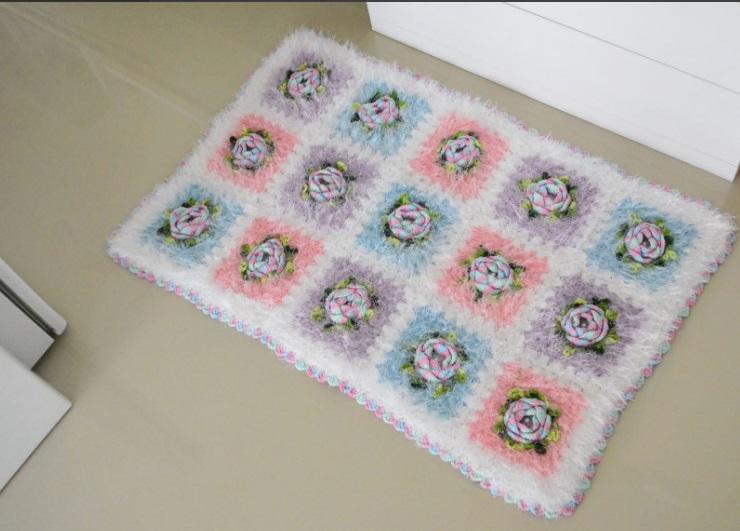 Tapete Botão Em Crochê – Material e Receita
