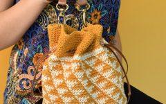 Bolsa Laranja Saco Em Crochê – Material e Receita