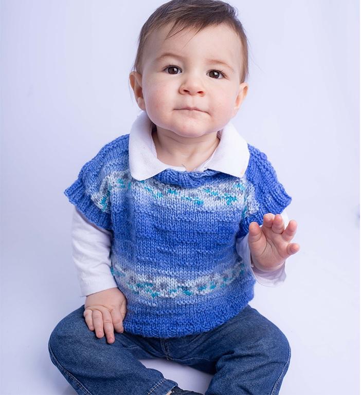 Colete Azul Print Baby Em Tricô – Material e Receita