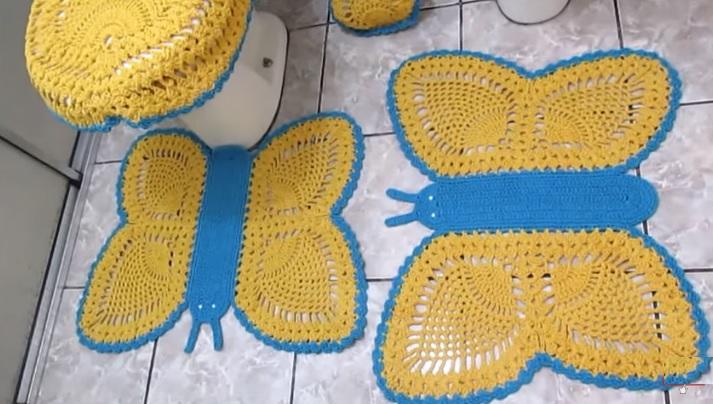 Jogo de Banheiro Borboletas Em Crochê – Material e Vídeo