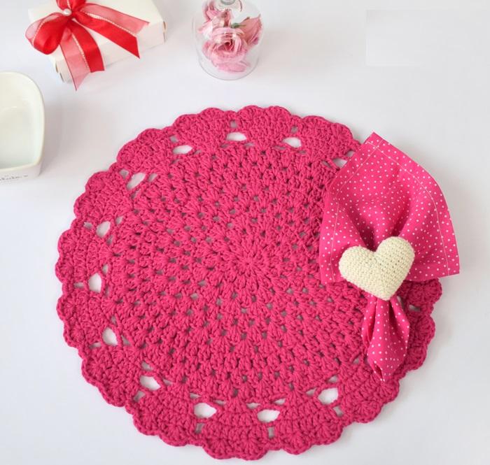 Sousplat Dia Dos Namorados Em Crochê – Material e Receita