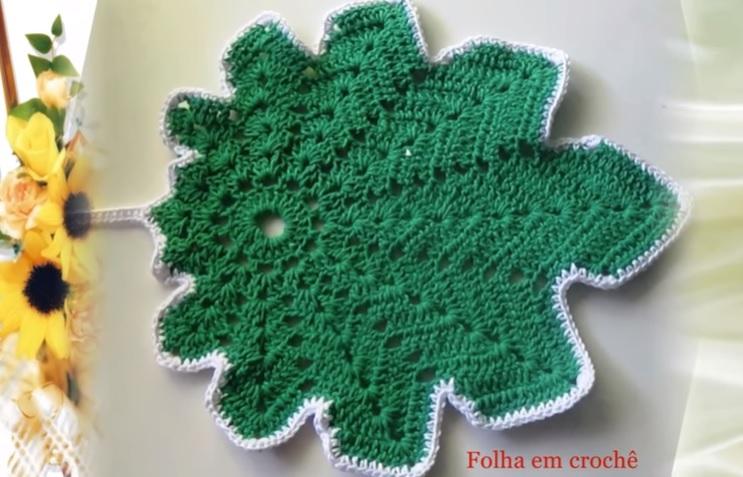 Descanso Panela Folha Em Crochê - Material e Vídeo