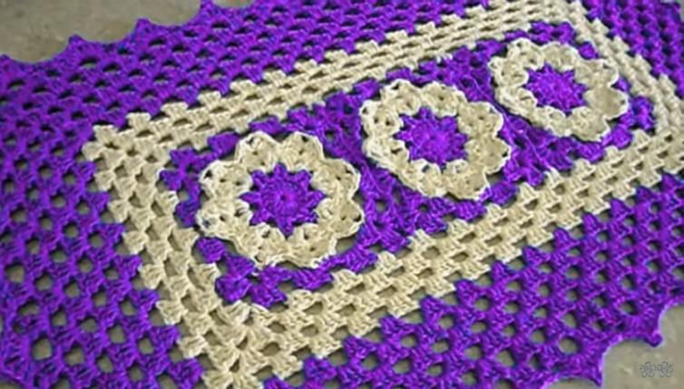 Tapete Retangular Flor Rasteirinha Em Crochê