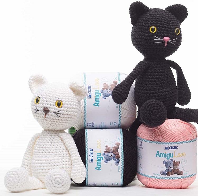 Amigurumi Casal Gato Preto e BrancoEm Crochê – Material e Receita