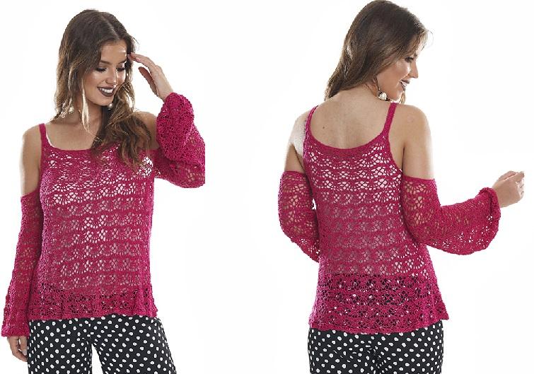 Blusa Ombro VazadoEm Crochê – Material e Receita