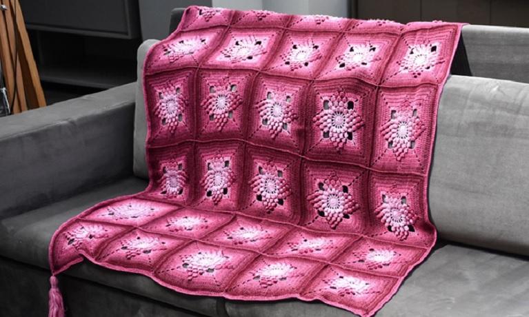 Manta Framboesa Prisma Em Crochê – Material e Receia