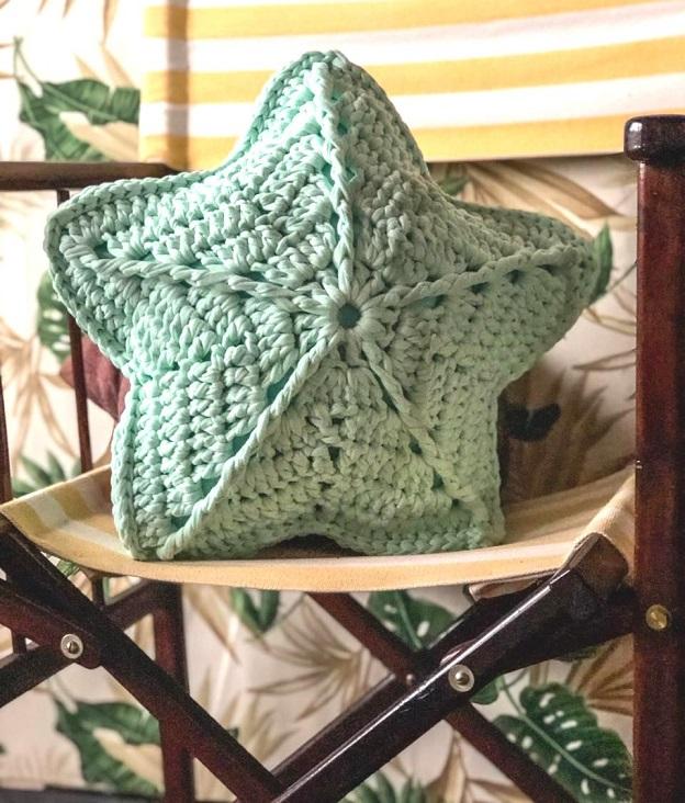 Almofada Estrela Do Mar Em Crochê - Material e Receita