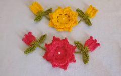 Flor Botão E Folha Em Crochê – Material e Vídeo