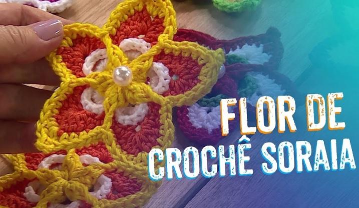 Flor Soraia Em Crochê – Material e Vídeo