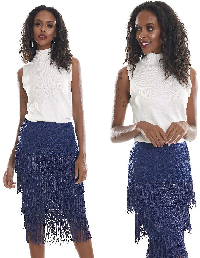 Saia Azul Com Franjas Em Crochê- Material e Receita