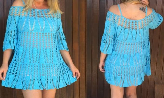 Vestido Azul Soltinho Em Crochê – Material e Vídeo