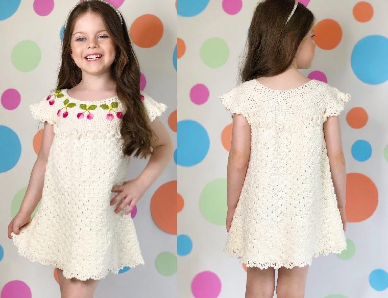 Vestido Clássico Infantil Em Crochê – Material e Receita