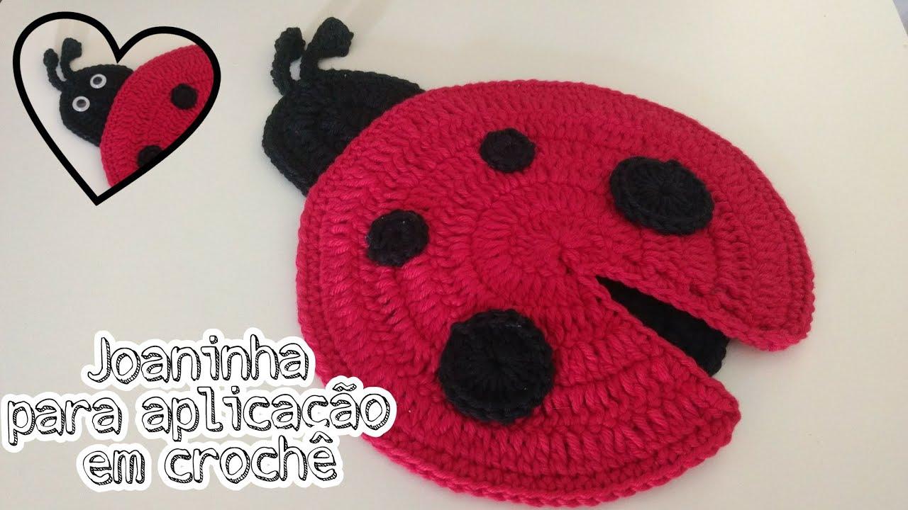 Joaninha Aplicação De Crochê – Material e Vídeo