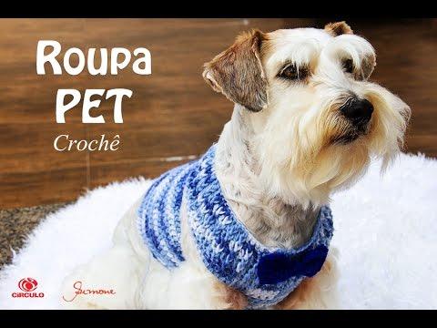 Roupa Pet Azul Crochê