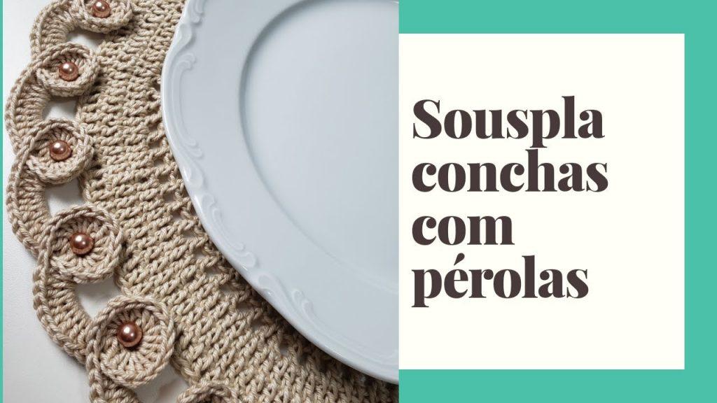 Sousplat Concha Pérolas Crochê