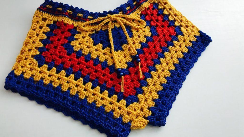 Short Infantil Colorido Crochê