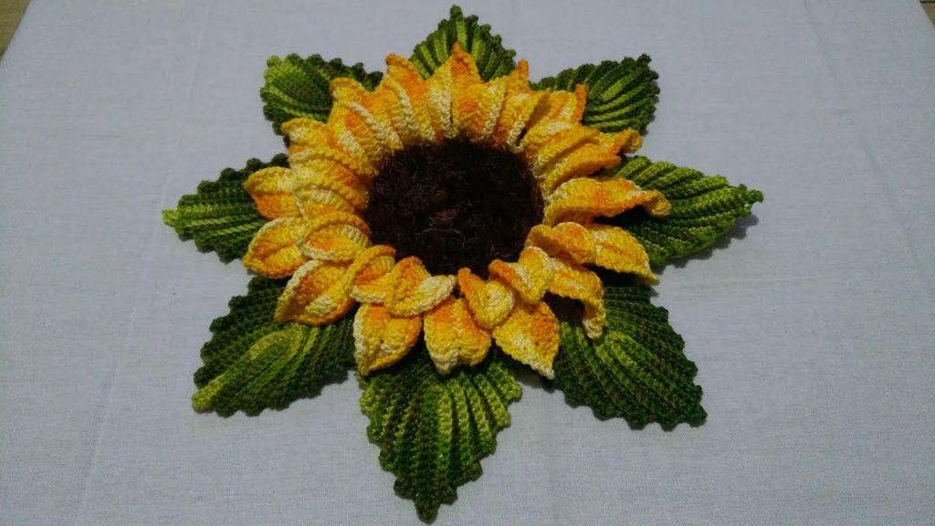 Flor Girassol Crochê Gigante